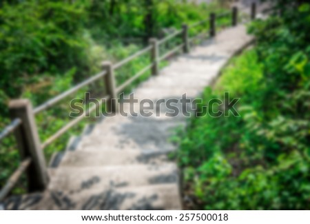 Step down to stone stair in blur style - stock photo