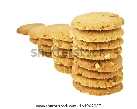 step increase of cookie stack bar on white background