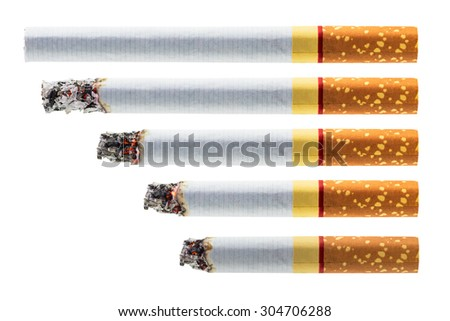 Step of burning cigarette set in different stage isolated on white background with clipping path - stock photo
