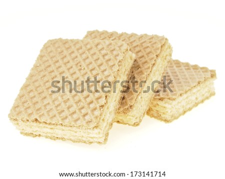 step pile of three wafer on white background