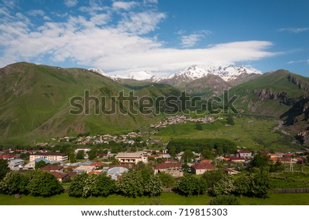 Stepantsminda village in the mountains of Georgia