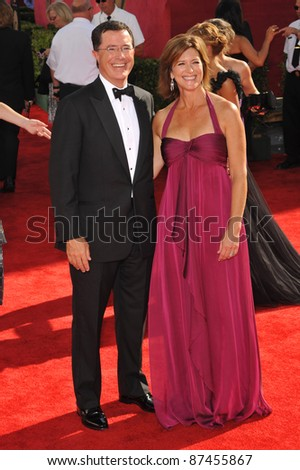 Stephen Colbert & date at the 61st Primetime Emmy Awards at the Nokia Theatre L.A. Live. September 20, 2009  Los Angeles, CA Picture: Paul Smith / Featureflash