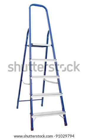Stepladder on white background - stock photo