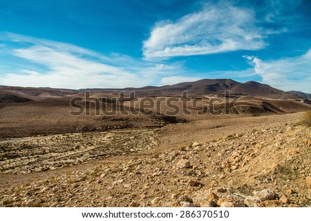 Steppe landscape in northern Chile - National Park Leuca - stock photo