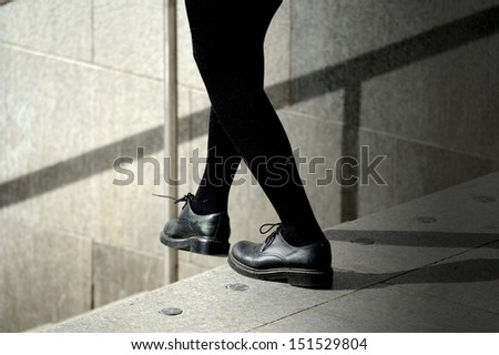 Stepping into bright future - stock photo