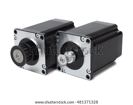 Stepping motors isolated on white background