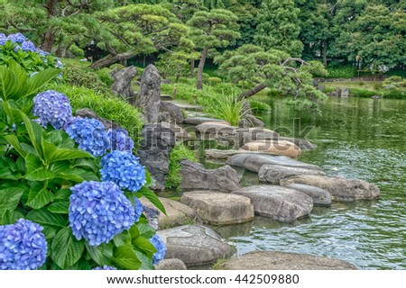 stepping stones commonly found in Japanese garden - stock photo