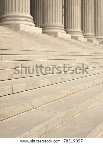Steps and Columns at the Entrance of the United States Supreme Court in Washington DC - stock photo