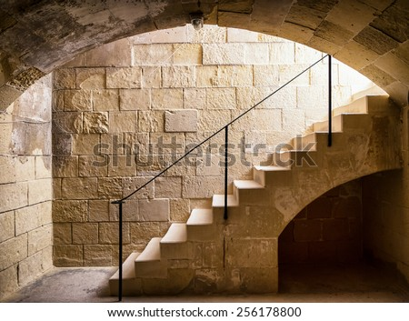 steps at an old cellar - stock photo