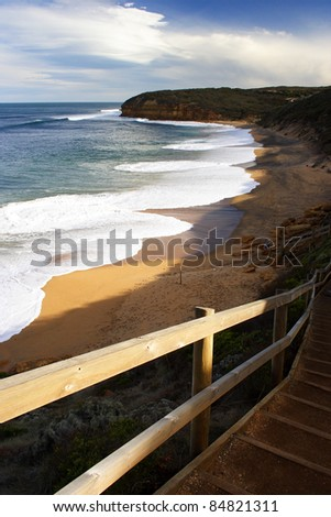 Steps down to Bell's beach on the Great Ocean road in Victoria Australia.