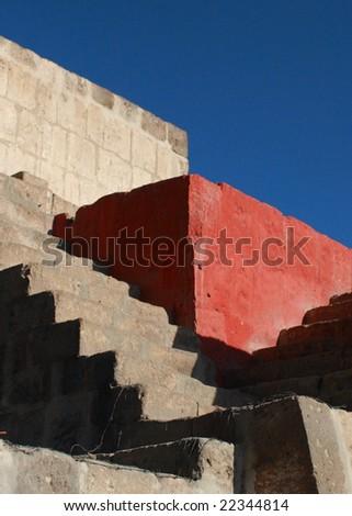 Steps in Convento de Santa Catalina - stock photo