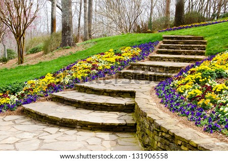 Steps leading to garden - stock photo