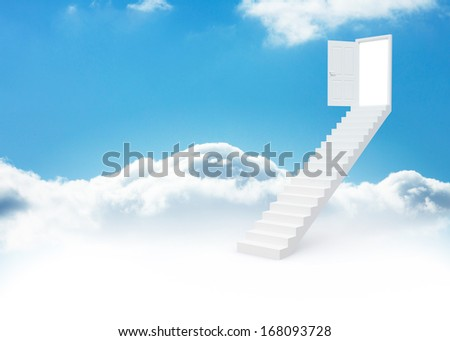 Steps leading to open door in the sky