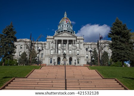 Steps Leading Up to the Colorado State Capitol Building - stock photo