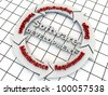 Steps of Software Development on a arrow circle, over grid floor - stock photo