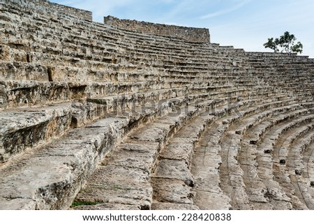 Steps of the ancient amphi theatre Odeon in the Hierapolis site at Pamukkale Turkey - stock photo