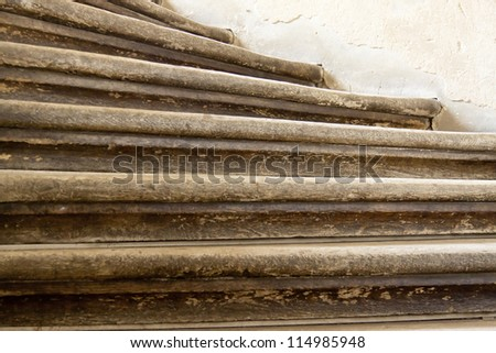 Steps of wooden stairs in Pieskowa Skala - Poland. - stock photo