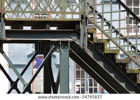 steps on an iron bridge - stock photo