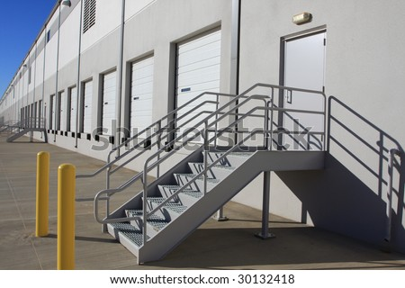 Steps on warehouse loading dock