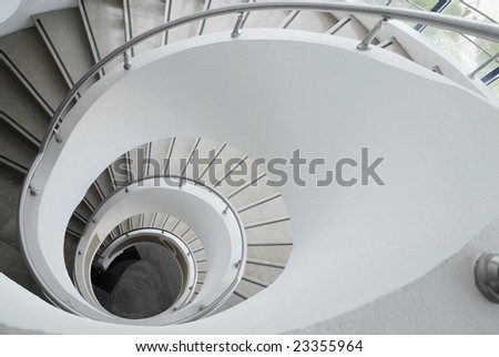 steps, spiral, staircase, metal, top, architecture,  interior - stock photo