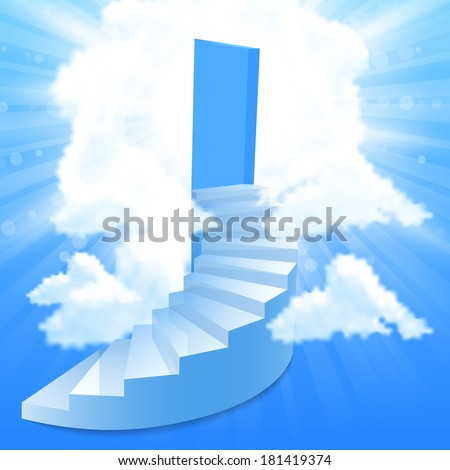 Steps, stairway to the sky - stock photo
