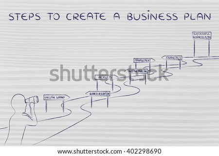 steps to create a business plan: entrepreneur looking through binoculars at the way to establish his own business successfully - stock photo