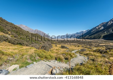 Steps to lookout of Tasman valley, Mt Cook, New Zealand - stock photo