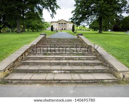 Steps to the Mansion, Roundhay Park, Leeds, Yorkshire, UK - stock photo