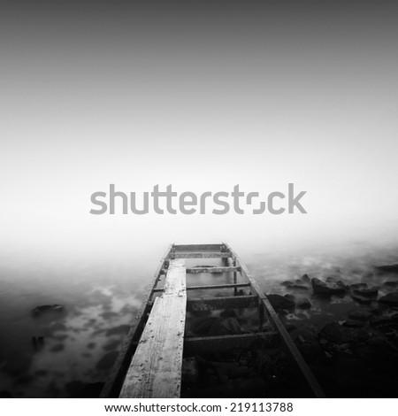 Steps to the sea. Long exposure black and white shot, Odessa, Ukraine. - stock photo