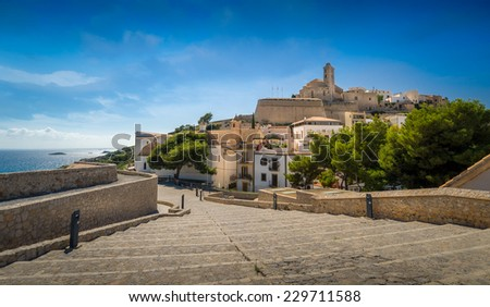 Steps way to old district and fortress of Ibiza. Eivissa, Spain - stock photo