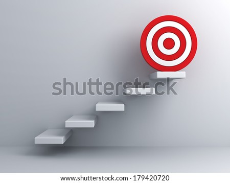 Steps with goal target business concept over white wall background - stock photo