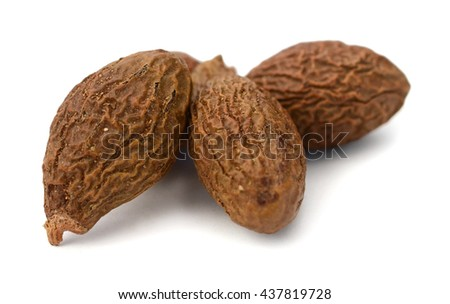 Sterculia boat seed used in chinese herbal medicine over white background. Pang da hai. Scaphigera semen.