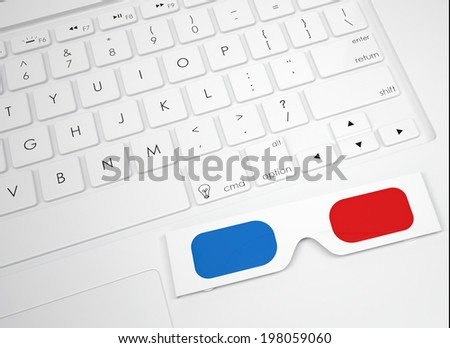 Stereo glasses on the keyboard. View from above - stock photo
