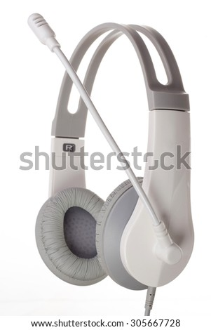 Stereo headphones isolated on white background - stock photo
