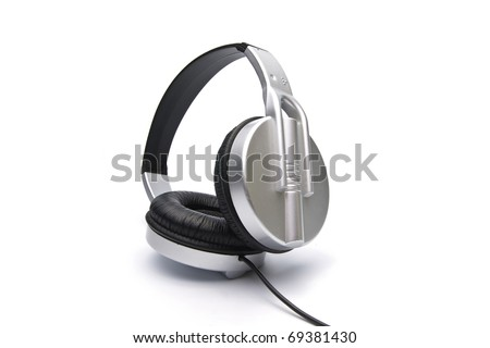 Stereo headphones on a white background - stock photo