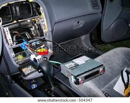 Stereo Install - stock photo