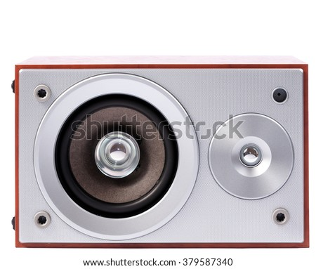 Stereo sound system isolated on white background. Stereo speakers in wooden case - stock photo