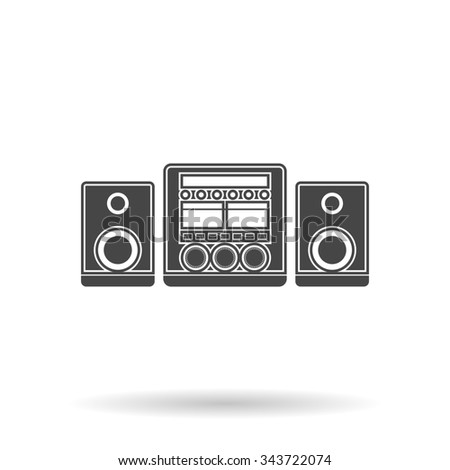 Stereo system. Flat icon on grey background with shadow - stock photo