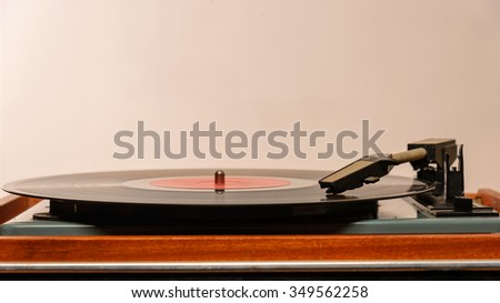 Stereo Turntable Vinyl Record Player Analog Retro Vintage - stock photo
