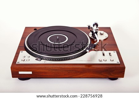 Stereo Turntable Vinyl Record Player Analog Retro Vintage Perspective View - stock photo