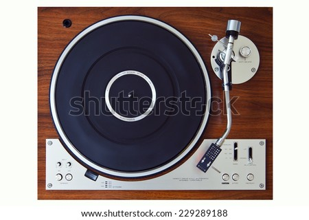 Stereo Turntable Vinyl Record Player Analog Retro Vintage Top View - stock photo