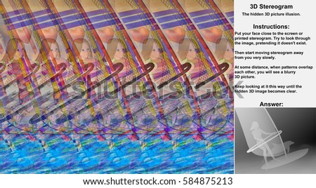 Stereogram illusion with girl windsurfer and dolphin in hidden 3D picture