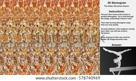 Stereogram illusion with gymnast girl balancing on beam in hidden 3D picture