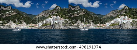 stereoscopic 3d pair for parallel viewing or to make stereoscopic image of Amalfi, on the coast of Italy