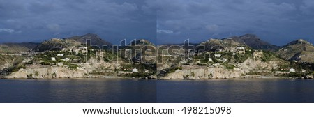 stereoscopic pair to make a 3D image of the coast of Taormina, Sicily. For parallel viewing