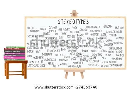Stereotypes Blackboard: Geek, Nerd, Jock, Metrosexual, Hippy, Bimbo, Outcast, Dropout, EMO, Skater, Prep, Square, Ghetto, Drama Queen. Books on Stool - stock photo