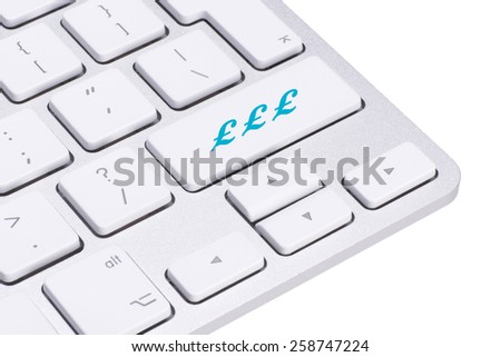 Sterling, british pound sign button on keyboard, money concept  - stock photo