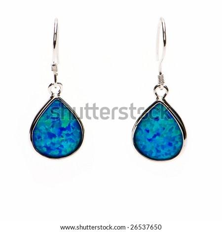Sterling Silver Earrings - stock photo