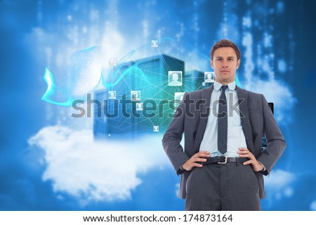 Stern businessman with hands on hips against cityscape on cloud