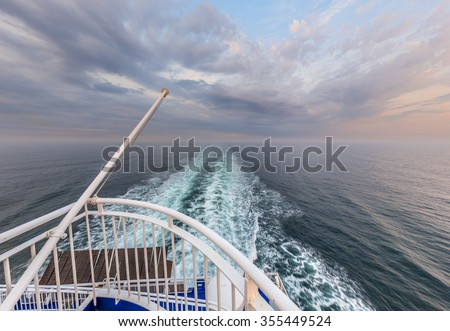 Stern of a Cruise ship liner sailing across the North sea - stock photo
